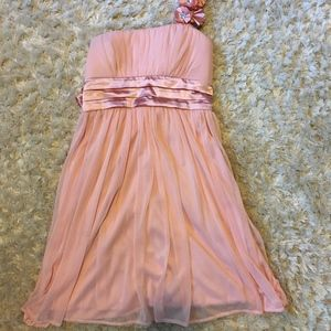 Floral Strap Baby Pink Prom Dress